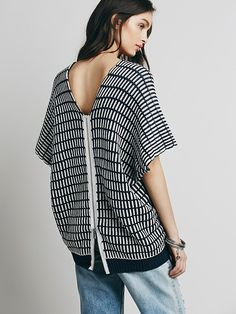 Free People Stripe Boxy Short Sleeve Pullover, $128.00