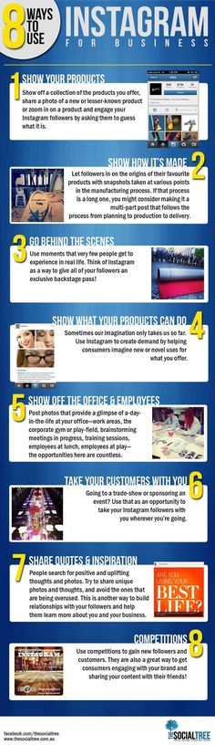 Business infographic : 8 Ways To Use Instagram For Business  #Infographic #Social Media Marketing #Sma
