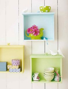 Painted drawers turned wall shelves