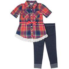 Girls Rule Newborn & Infant Girl's Shirt & Leggings - Plaid