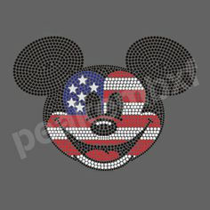 Cute Mickey New 4th of July Iron On Design Hot Fix Rhinestone Transfers  30pcs lot a7ff82b17c7a