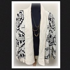 HP Black and cream Aztec print cardigan Gorgeous black and cream Aztec print open style cardigan.  Not super thick but it has a nice weight to it.  Very soft and cozy.  Purchased from a local boutique but never worn.  New without tags.  Material content:  65% cotton, 35% acrylic.  Marked as a size small but it is a very flowing cardigan and can fit a Medium as well. Sweaters
