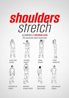 How to Recover from a Shoulder Injury Rotator Cuff Exercises, Chair Exercises, Stretching Exercises, Upper Body Stretches, Arm Stretches, Stretches Before Workout, Before Bed Workout, Gym Workout Tips, Workout Warm Up
