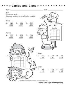 Math Worksheet: addition--three digits with regrouping Math 4 Kids, Math Activities For Kids, Fun Math, Teaching Geography, Teaching Math, 2nd Grade Math Worksheets, Math Sheets, Primary Maths, Math Addition