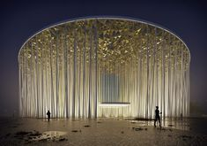 Image 1 of 12 from gallery of Steven Chilton Architects Builds a Forest of White Columns Around Wuxi Taihu Show Theater. Wuxi Show Theatre. Image Courtesy of Steven Chilton Architects Wuxi, Architecture Paramétrique, World Architecture Festival, Sustainable Architecture, Amazing Architecture, Contemporary Architecture, Circular Buildings, Theater, Shade Canopy
