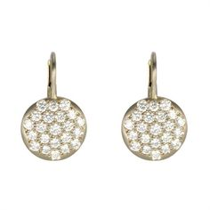 "Caroline Ellen White Palladium and Pave Diamond Lentil Earrings 18K White Gold Palladium Earrings with Pave Diamond ""Lentil"" Disc on Hinge Back Wire (1.16 tcw). 6,895.00 USD"