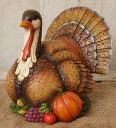 New TURKEY FIGURINE Statue Thanksgiving Pumpkin Fall Centerpiece Country Prim