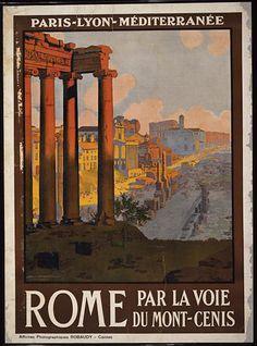 classic posters, graphic design, italian poster, retro prints, travel, travel posters, vintage, vintage posters, Rome par la voie du Mont-Ce...