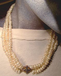 Multi Strand Baroque Pearls Necklace  14K by FionaKennyAntiques #weddingpearls