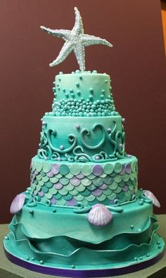 Perfect cake for the occasion minus the star fish topper