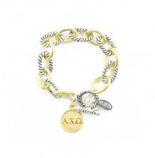 Two Toned Toggle Bracelet with Alpha Chi Omega Charm by Navika Girl