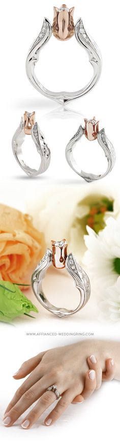 White and rose gold engagement ring with a center diamond 16 pcs. small brilliants and handmade engraving.