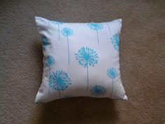 Dandelion Pillow Cover, Aqua Blue Dandelion Pillow Cover, Blue Floral Pillow Cover