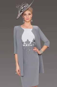 This knee length fitted dress features an embellished bodice that carries on through the waist. The dress is completed with the addition of a matching coat. Mother Of The Bride Fashion, Mother Of The Bride Suits, Mother Of Bride Outfits, Beautiful Dresses, Nice Dresses, Short Fitted Dress, Stylish Dresses For Girls, High Fashion Dresses, Mom Dress