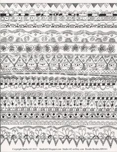Zentangle Border Pattern | ... Digital Collage Sheet Doodle Borders - Etsy. ... | Zentangle patterns