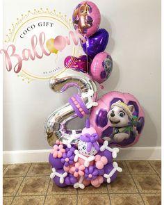 Birthday Party Decorations Diy, Balloon Decorations Party, Balloon Garland, Birthday Party Themes, Balloon Flowers, Balloon Bouquet, Paw Patrol Balloons, Sibling Birthday Parties, Paw Patrol Birthday Theme