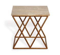 The Crossings Table $560 19x19x19    FINISH: Metal frame with natural beige marble top.     [share]