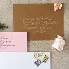 Hand calligraphy by Laura Hooper Calligraphy  http://lhcalligraphy.com/product/envelope-calligraphy/