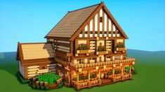 Minecraft tutorial how to build a big survival house medieval mansion 2018 2 Big Minecraft Houses, Minecraft Mansion, Minecraft Structures, Minecraft Houses Survival, Minecraft House Tutorials, Minecraft Houses Blueprints, Minecraft Room, Minecraft Plans, Minecraft House Designs