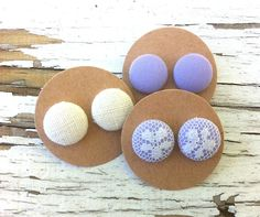 SET OF 3 PAIRS Fabric Button Post Earrings - Purple, Purple with Lace, Cream…