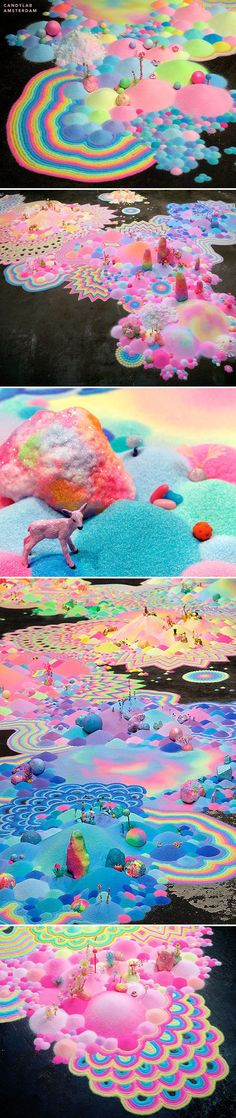 Candy Art. A whole fantasy land of candy in pastel rainbow colors. Awesome! pip & pop. Please also visit www.JustForYouPropheticArt.com for more colorful art you might like to pin or purchase or for painting ideas for your own paintings. Thanks for looking!