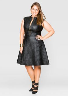 Quilted Faux Leather Skater Dress #plussize #fashion #dress
