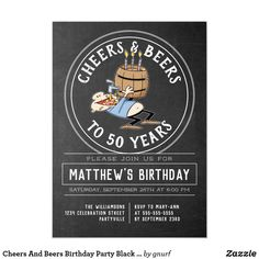 Shop Cheers And Beers 40 Birthday Party Black And White Invitation created by gnurf. Personalize it with photos & text or purchase as is! Birthday Cartoon, Adult Birthday Party, 40th Birthday Parties, 40 Birthday, Birthday Ideas, Zazzle Invitations, Invitation Cards, Birthday Invitations, Cheers And Beers To 40 Years