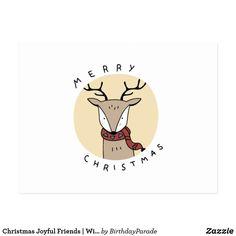 Christmas Joyful Friends | Winter Is Coming Postcard Christmas Bunny, Winter Is Coming, Business Supplies, Joyful, Party Hats, Funny Cute, Postcards, Festive, Art Pieces