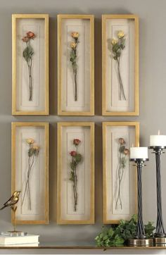 Carefully preserved roses in gold-framed shadowboxes add just the right element of natural sophistication to any space.