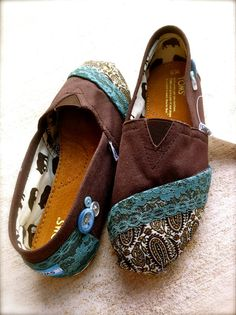 Customized Toms with lace, fabric and buttons