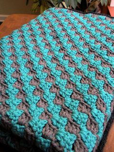 Teal and Grey Diagonal Granny Stripe Crochet Baby by CeraBoutique