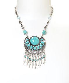Look what I found on #zulily! Silver & Turquoise Sun Bib Necklace #zulilyfinds