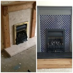 This is my fireplace or fire surround makeover. Mosaics over peach marble, painted with AS chalk paint.