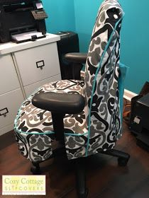 I Love The Black Gray White Main Fabric With Accent Of Aqua Blue In Piping And Bow It Looks Perfect Her Office Check O