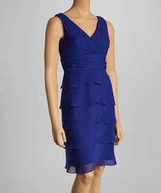 Love this Royal Blue Tier Surplice Dress - Petite by Jessica Howard on #zulily! #zulilyfinds