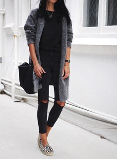 All black, gray cardigan and leopard espadrilles - trend_fashion_pintradio Espadrilles Outfit, Leopard Espadrilles, Leopard Shoes, Fashion Casual, Trend Fashion, Casual Outfits, Cute Outfits, Fashion Outfits, Asos Fashion