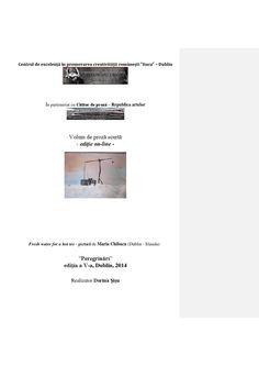 """Volum de proză scurtă - ediție on-line -  """"Peregrinări"""" ediția a V-a, Dublin, 2014 Realizator Dorina Șișu"""