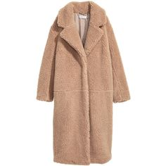 Long Pile Coat $99 (2 625 UAH) ❤ liked on Polyvore featuring outerwear, coats, jackets, long beige coat, long coat, long length coats, fur-lined coats and beige coat