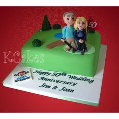 For the lovely couple who plans on spending the rest of their years enjoying golf together! Golf Themed Cakes, Golf Cakes, Anniversary Cakes, Novelty Cakes, Rest, Couple, Desserts, Birthday Cakes, Tailgate Desserts