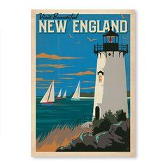 Appendi sulla parete questa maxi cartolina americana. Firmata dal New England, sarà la tua finestra sul mare per tutto l'anno. Anche quando fuori piove a dirotto. <br><br> La stampa è in formato A2 ed è realizzata con carta ecosostenibile.