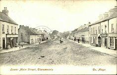 Lower Main Street, Claremorris, Co. County Mayo, Nebraska, Oklahoma, Tornados, Extreme Weather, Old Postcards, South Dakota, Main Street, Missouri