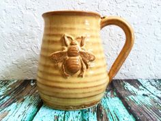 Bee Coffee Cup Handmade Pottery Yellow Gold by MyMothersGarden