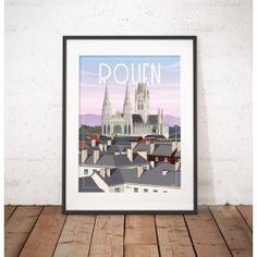 """Affiche """"Rouen"""" par Wim' Rouen, Portrait, All Poster, Limited Edition Prints, Illustration, Paper Texture, Wall Decor, Lettering, Frame"""