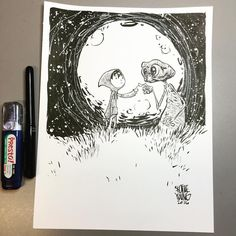 E.T. And Elliot. Original available http://skottieyoungstore.bigcartel.com…