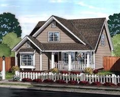 House Plan 61453 | Cottage Craftsman Traditional Plan with 1597 Sq. Ft., 3 Bedrooms, 3 Bathrooms