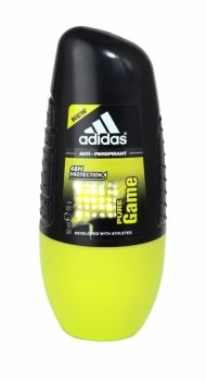 Adidas Anti Perspirant Roll On 50ml Pure Game Adidas Anti-Perspirant provides intense protection against perspiration, even for athletes! This Alcohol-free and marine salts enriched anti-perspirant has been developed with athletes to create the Max Dry System that ensures anti-odour and anti-whitening properties with no alcohol. Quick drying and great for travel or gym use.