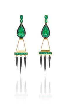 Emerald earrings by Dominic Jones.   - ELLE.com
