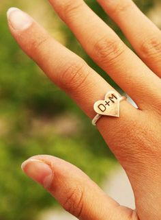 Sweetheart initials ring