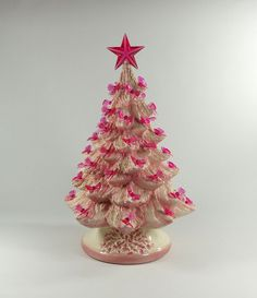 Pink Confection Ceramic Christmas tree from a vintage mold <3