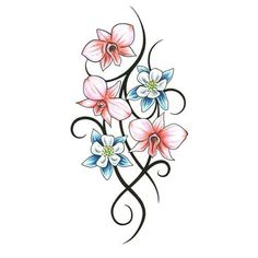 tribal frog tattoo designs   Orchids Blossoms Tribal Stems Tattoo Design - TattooWoo.com